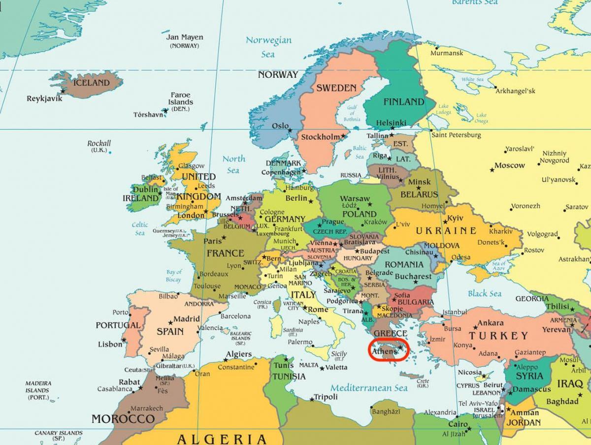 Carte De Leurope Grece.Athenes Carte Europe Carte De Athenes Carte De L Europe
